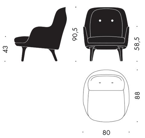 Fri jh4 designer selections fritz hansen for Sessel 3d dwg
