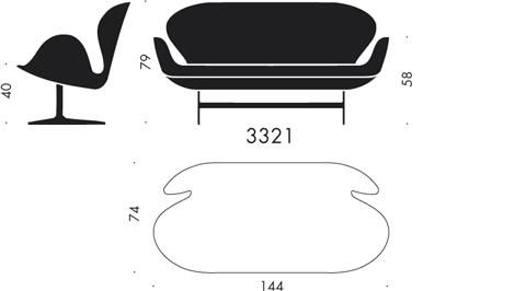 3321, 2-seater sofa