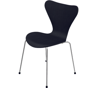 3107 - No upholstery, coloured ash, Black, 3107 Base, Chromed Steel