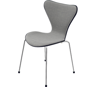 3107 - Front Upholstered, Shell: coloured ash, Black, Front Upholstery: Canvas fabric, Light Grey, Base: 3107 Base, Chromed Steel