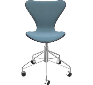 3117 - Front Upholstered, Shell: Coloured Ash (Lazur), Black, Front Upholstery: Tonus, Grey, Chromed Steel