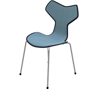 3130 - Front Upholstered, Shell: Coloured Ash (Lazur), Black, Front Upholstery: Tonus, Grey, Chromed Steel
