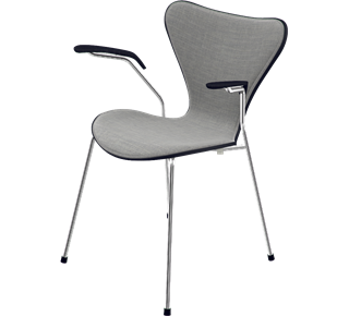 3207 - Front Upholstered, Shell: Coloured Ash (Lazur), Black, Front Upholstery: Canvas, Light Grey, Chromed Steel