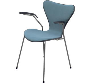 3207 - Front Upholstered, Shell: Coloured Ash (Lazur), Black, Front Upholstery: Tonus, Grey, Chromed Steel