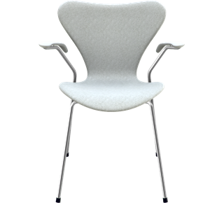3207 - Fully Upholstered, Divina Melange, Light Grey Divina Melange, Chromed Steel