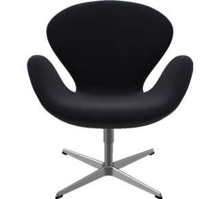 3320 - 3320, Swan Chair, easy chair, Hallingdal, Black, Satin Polished Aluminum