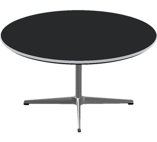 A223 - A223, Circular, Coffee Table, 4-star Pedestal base, Tabletop: Laminate, Black, Edge: Aluminum