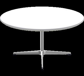 A223 - A223, Cirkulært, sofabord, 4-grenet søjlefod, Bordplade: Laminat, Hvid, Kant: Aluminium