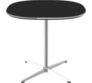 A602 - A602, Supercircular, 4-star Pedestal base, Tabletop: Laminate, Black, Edge: Aluminum