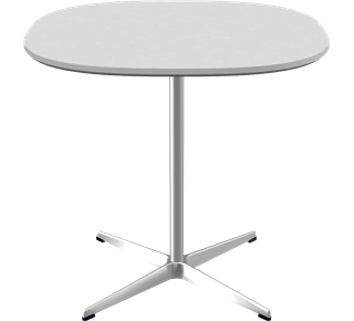 A602 - A602, Supercircular, 4-star Pedestal base, Tabletop: Laminate, White, Edge: Aluminum