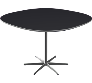 A804 - A804, Supercircular, 6-star Pedestal base, Tabletop: Laminate, Black, Edge: Aluminum