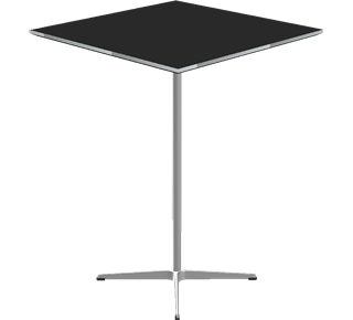 A931 - A931, Square, Bar Table, 4-star pedestal base, Tabletop: Laminate, Black, Edge: Aluminum