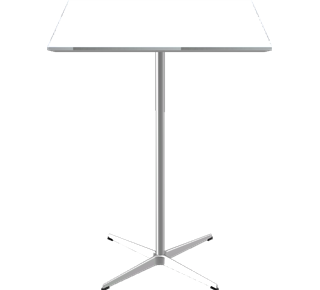 A931 - A931, Square, Bar Table, 4-star pedestal base, Tabletop: Laminate, White, Edge: Aluminum