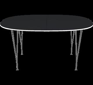 B618 - B618, Super-Elliptical, Extension Table, Span legs, Tabletop: Laminate, Black, Edge: Aluminum