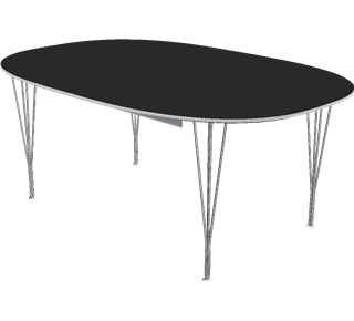 B619 - Super-Elliptical, Extension Table, Span legs, Tabletop: Laminate, Black, Edge: Aluminum