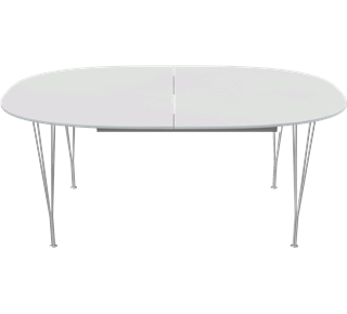 B619 - Super-Elliptical, Extension Table, Span legs, Tabletop: Laminate, White, Edge: Aluminum
