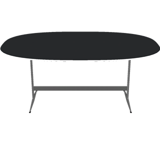 D413 - D413, Super-Elliptical, Shaker base, Tabletop: Laminate, Black, Edge: Aluminum