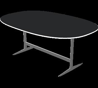 D413 - D413, SUPER-ELLIPTISCH, Shakergestell, Tischplatte: Laminate, Schwarz, Kante: Aluminium