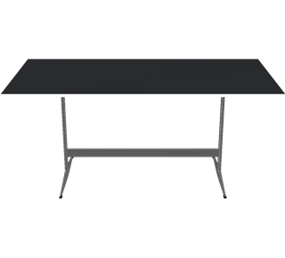 D438 - D438, Rectangular, Shaker base, Tabletop: Laminate, Black, Edge: Aluminum