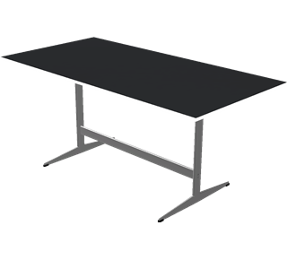 D438 - D438, 長方形テーブル シェーカーベース, Tabletop: Laminate, Black, Edge: Aluminum