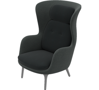 ro jh1 easy chair brushed aluminum base designer. Black Bedroom Furniture Sets. Home Design Ideas
