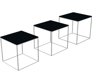 PK71 - PK71, Nest of 3 small tables, Acrylic, Black, Satin Brushed Stainless Steel