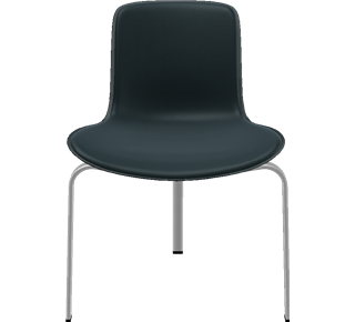 PK8 - PK8, Chair, aluminium, PC/ABS plastic shell, Front Upholstered, Shell: ABS Plastic, Black, Front Upholstery: Elegance Leather, Black