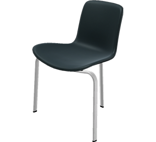 PK8™ - PK8, Chair, aluminium, PC/ABS plastic shell, Front Upholstered, Shell: ABS Plastic, Black, Front Upholstery: Elegance Leather, Black