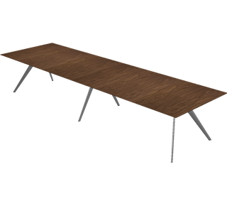 TB5 A+B - TB5 A+B, Combination Table, Veneer, Walnut, T-No. 1 Base, Polished Aluminum
