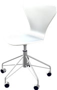 Series 7™ Swivel chair, White, Lacquered, Chromed Steel