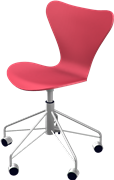 Series 7™ Swivel chair, Red, Lacquered, Chromed Steel