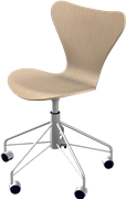 Series 7™ Swivel chair, Oak, Clear lacquer/Natural veneer, Chromed Steel