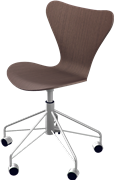 Series 7™ Swivel chair, Walnut, Clear lacquer/Natural veneer, Chromed Steel