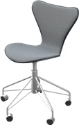 Series 7™ Swivel chair, Black, Lacquered, Light Grey, Remix, Chromed Steel