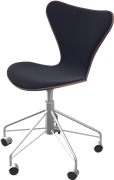 Series 7™ Swivel chair, Walnut, Natural veneer, Chromed Steel, Black, Divina