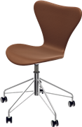 Series 7™ Swivel chair, Chromed Steel, Walnut, Elegance Leather