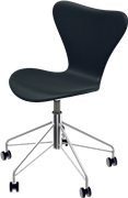 Series 7™ Swivel chair, Black , Soft Leather, Chromed Steel