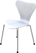 Series 7™ Childrens Chair, White, Coloured Ash (Lazur), Chromed Steel