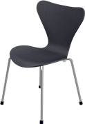 Series 7™ Childrens Chair, Black, Coloured Ash (Lazur), Chromed Steel