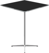 Table series Pedestal Base, Aluminum, Black, Laminate