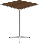 Table series Pedestal Base, Aluminum, Walnut, Veneer