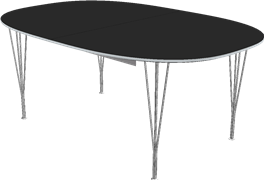 Table series Extension Tables, Black, Laminate, Aluminum