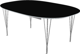 Table series Extension Tables, Aluminum, Black, Linoleum