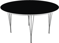 Table series Spanlegs, Black, Linoleum, Aluminum