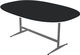 Table series Shaker Base, Black, Laminate, Aluminum