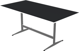 Table series Shaker Base, Aluminum, Black, Laminate