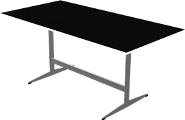 Table series Shaker Base, Black, Linoleum, Aluminum