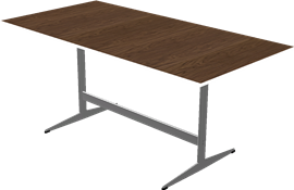 Table series Shaker Base, Aluminum, Walnut, Veneer