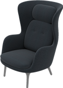 Ro™, JH1, Ro Lounge chair, brushed aluminium base, fabric/Leather
