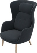 Ro™, JH2, Ro lounge chair,wooden base, fabric/Leather